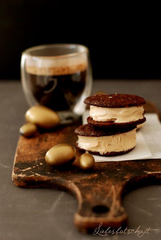 Coffee and Espresso Ice Cream Sandwiches