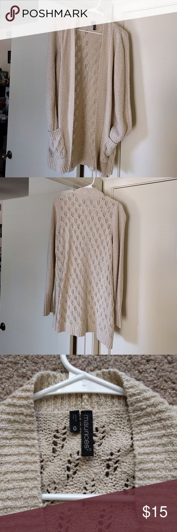 Tan Maurice's plus size cardigan Plus size 0/ regular size XLL. Tan with gold accent material. Very soft and cozy. Two pockets in the front, no buttons. Cute with jeans or leggings! Maurices Sweaters Cardigans