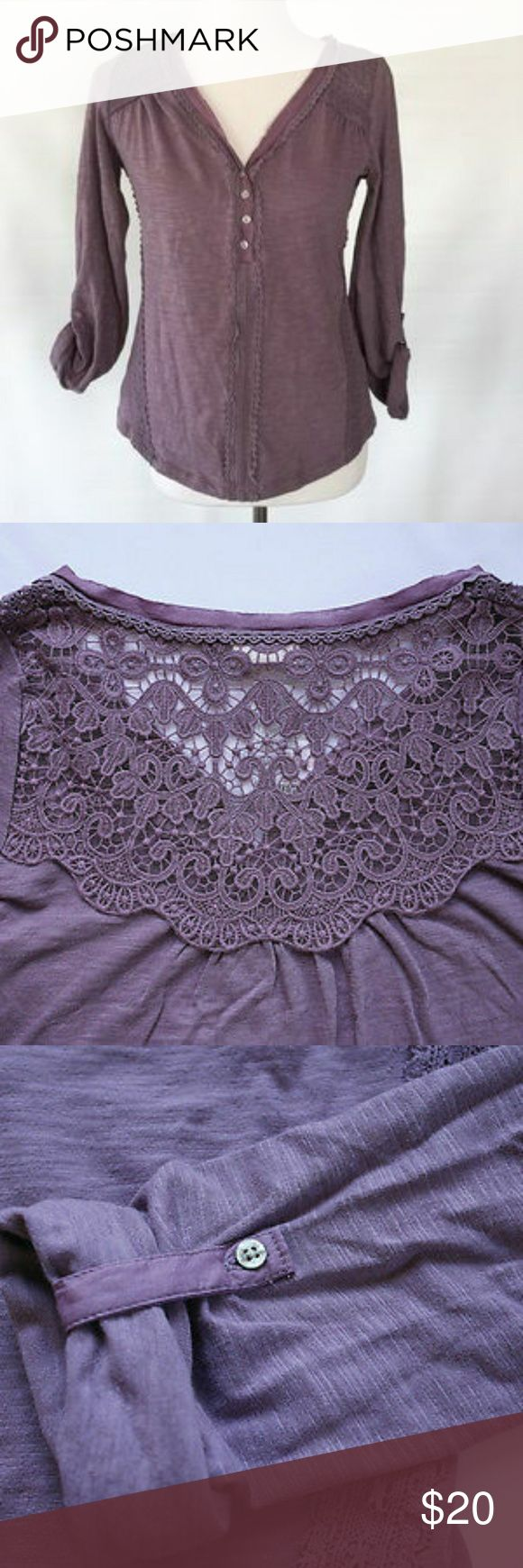 🦑Anthropologie🦑 Quinn Henley By Meadow Rue Anthropologie Quinn Henley By Meadow Rue. Same style number As seen on Ariel Winter on Modern Family! Light weight cotton.Sheer lace detailing. Button front. Machine wash. This is not nwt it has been loved. It has no stains. No holes. No snags. The jersey type material is made comfy and broken in. Which makes this top a favorite and a staple for every girl! SMOKE FREE.  Style No. 4112346827725 Anthropologie Tops