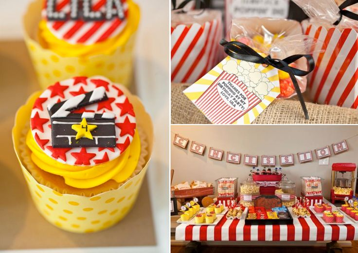 Vintage Movie Themed Birthday Party via Kara's Party Ideas KarasPartyIdeas.com #vintage #movie #party #birthday #planning #ideas #cake #decorations #favors #idea #supplies