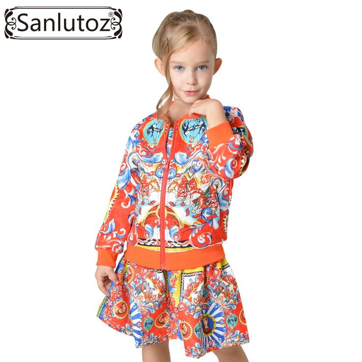 Cheap suit ribbon, Buy Quality clothes coat directly from China clothes leopard Suppliers: Sanlutoz Children Girl Clothing Set Toddler Kids Clothes 2016 Winter Autumn Sport Suit for Girl Brand Tracksuit (Jacket + Dress)