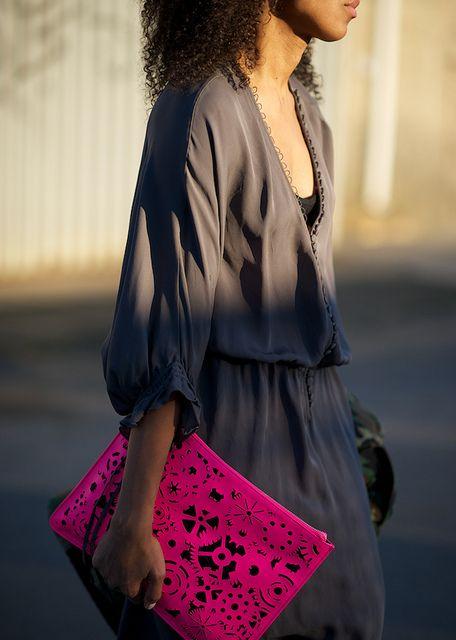 Grey dress+neon pink clutch  by Karenab, via Flickr