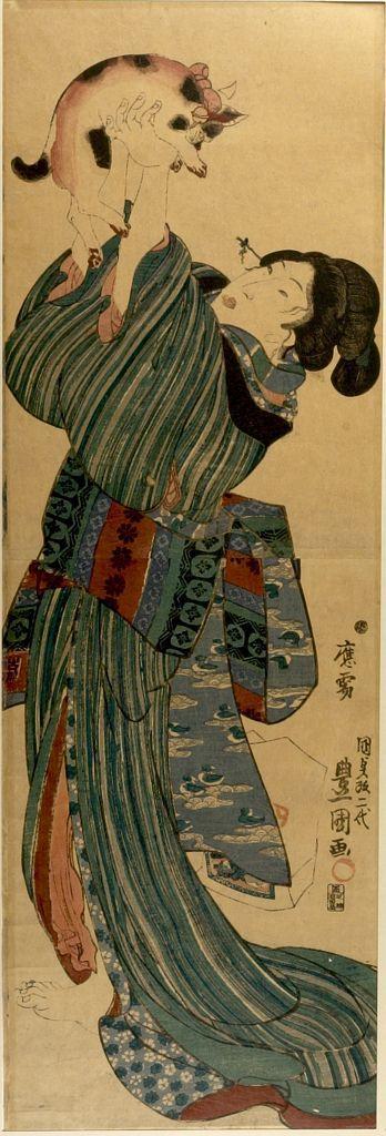 Utagawa Toyokuni, Japanese ( 1769 - 1825) Title     WOMAN IN STRIPED KIMONO