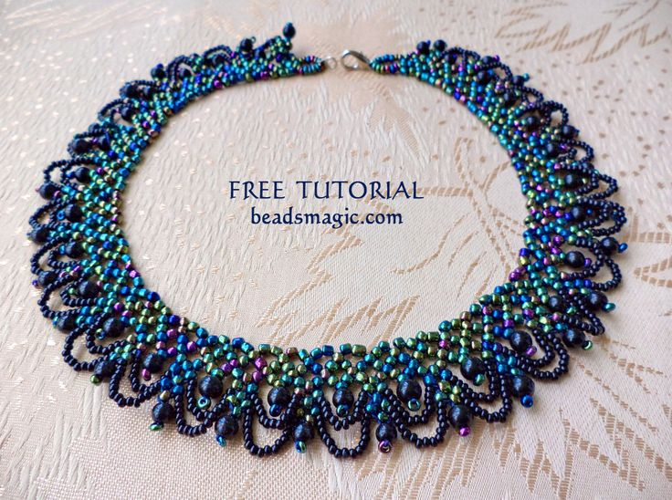 Free pattern for beaded necklace Musk   U need: seed beads 11/0 seed beads 15/0 round beads 4-6 mm