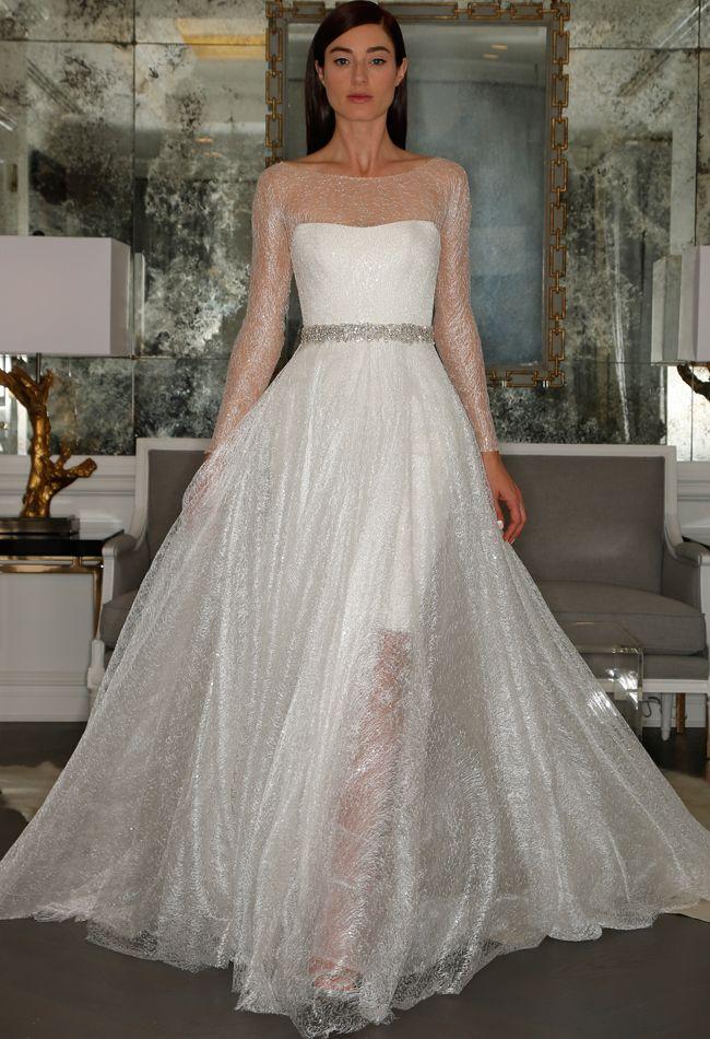 """Stardust"" Lace Illusion Sleeve Wedding Dress   Romona Kaveza Collection Fall 2015   blog.theknot.com"