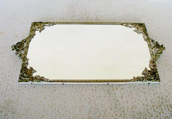 17-inch gespiegelde ijdelheid lade sierlijke witte bloemen / messing Frame vierkante spiegel schermstandaard