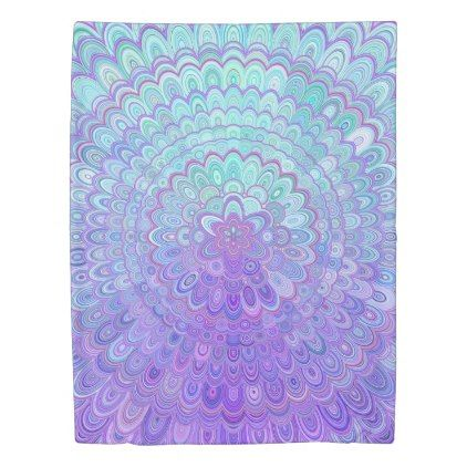 Mandala Flower in Light Blue and Purple Duvet Cover - home gifts ideas decor special unique custom individual customized individualized