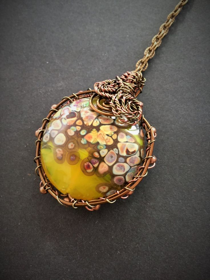 Double sided wirework pendant with handmade one of kind lampwoork lime green yellow raku bead with necklace by GreenfishBluefish on Etsy