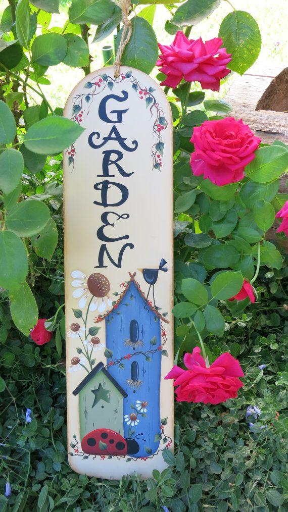 Garden sign, painted fan blade