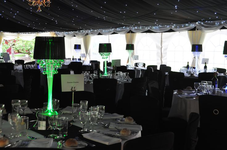 The marquee with luminous lamps & star cloth roof linings
