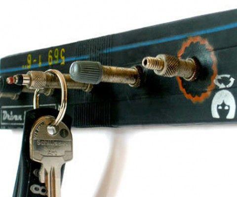 Key rack made from an old bike tube.