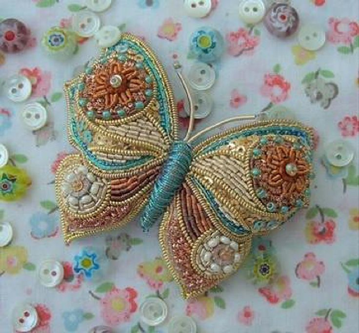 ❤ Embroidery Art, beaded butterfly-