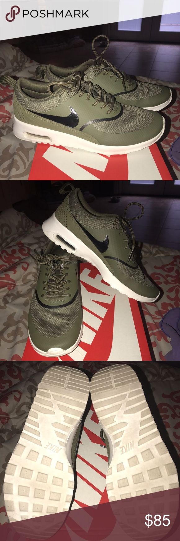 Nike Thea air max shoes Only 1 month old. Like brand new condition. I've only worn these 2 times, they are a little big on me that's why I'm selling these. Beautiful olive green color. Box is available to ship just let me know if you would like the box included. I'm a fast shipper too!! Nike Shoes Athletic Shoes