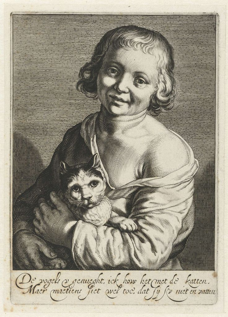 Cats in Art and Illustration: Boy with cat, c. 1625 - Cornelis Bloemaert (Dutch, 1603-1692)
