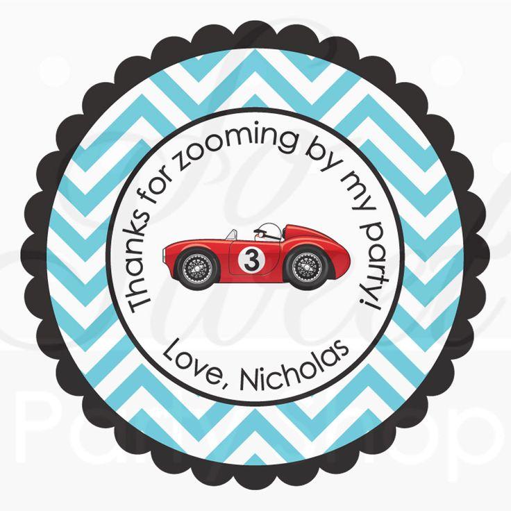 24 Party Favor Stickers - Chevron, Race Car Birthday - Boys Birthday Party Decorations - Personalized Birthday Stickers. $6.00, via Etsy.