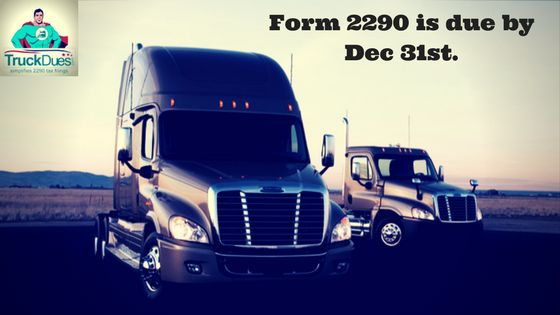 Truckers, we yet again would like remind you about the near-term HVUT deadline & to E-File your Pro-rated tax returns before Dec 31st. Economically E-File your tax returns through www.truckdues.com beforehand then carry on with  your upcoming Holiday celebration schedule at peace. http://blog.truckdues.com/form-2290-is-due-in-less-than-a-fortnight-for-vehicles-first-used-since-nov-2017/