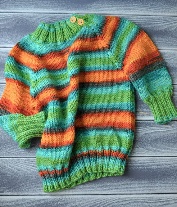 baby sweater rainbow color handmade work made of soft merino