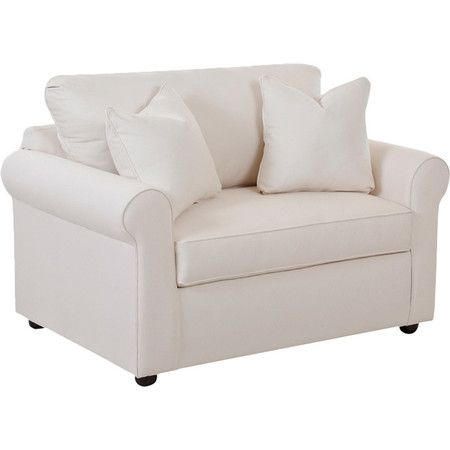 Brimming with timeless style, this cotton-upholstered sleeper chair features welted detailing and a versatile off-white hue. Converts into a bed for overnigh...