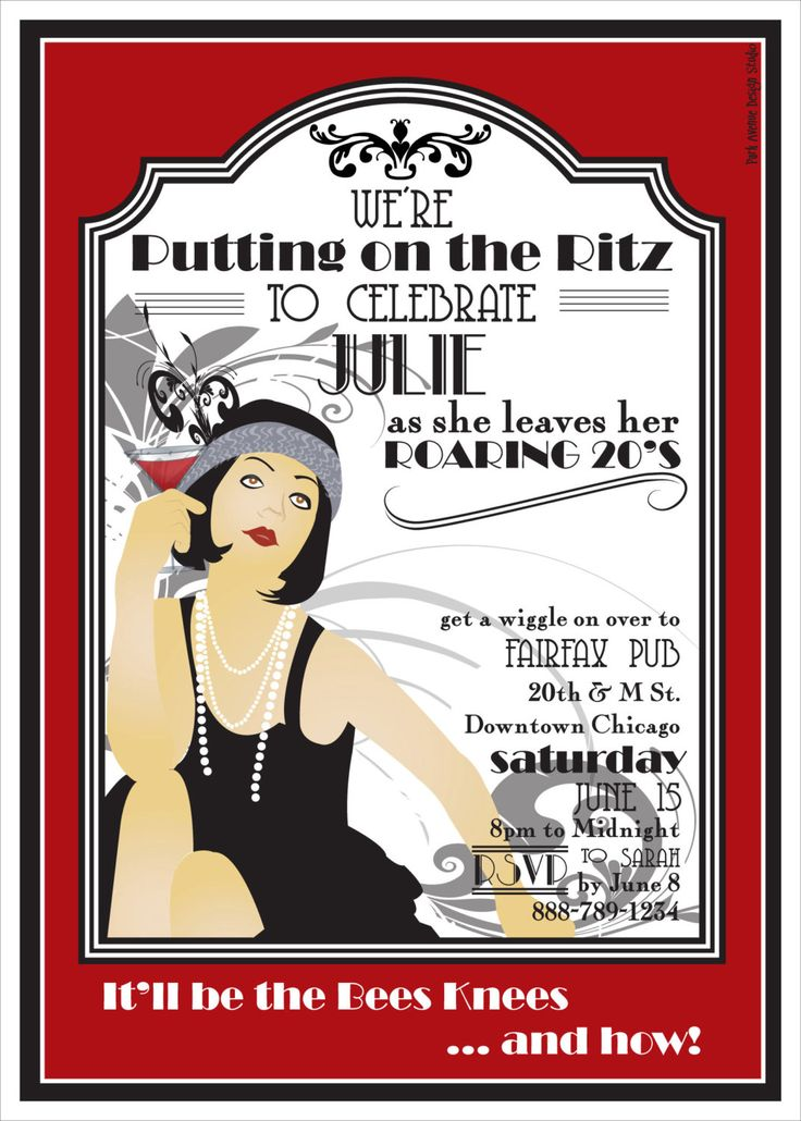 """ROARING 20s Printable Party Invitation... did this theme for my 26th bday- but LOVE the idea of doing it for 30 as I exit my """"roaring 20's!"""""""