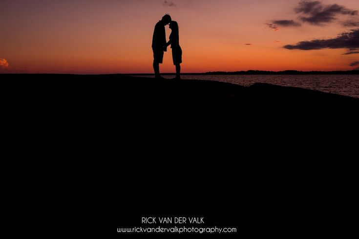 Sunset silhouette Engagement Shoot on Georgian Bay.