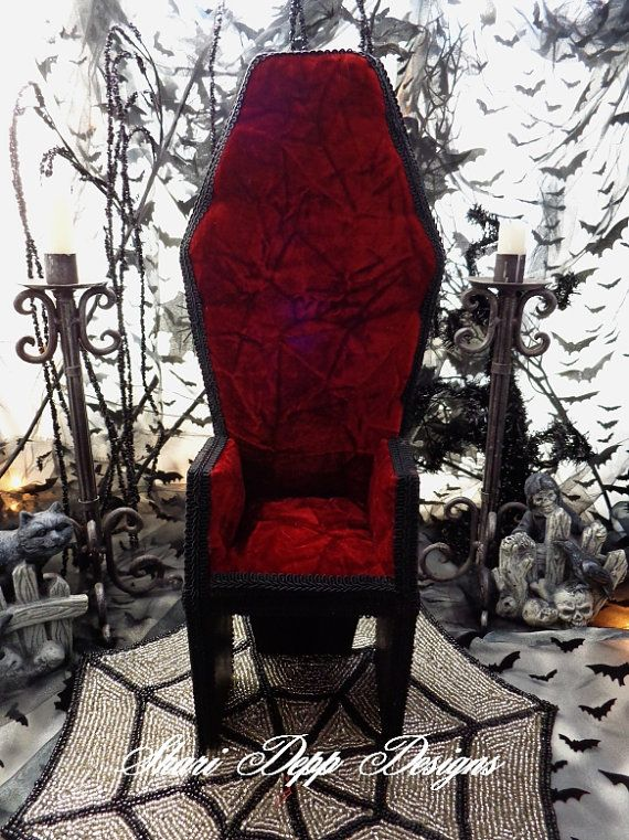 Handmade Wood and Upholstered Coffin Chair for by ShariDeppDesigns, $75.00