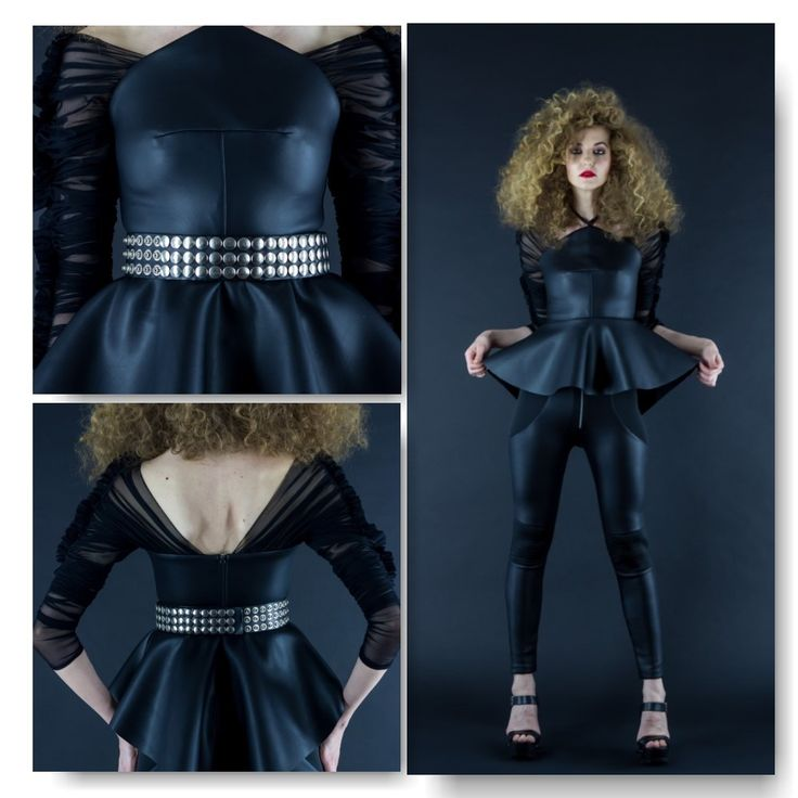 Neoprene top with faux leather finish and mesh sleeves Price: 450 RON Black neoprene leggings with faux leather finish  Price: 250 RON