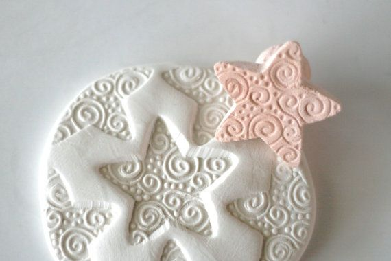 Clay Stamp Star with Spirals and Dots Pottery Pattern or Texture Shaped Tool for Fondant Ceramics Polyclay