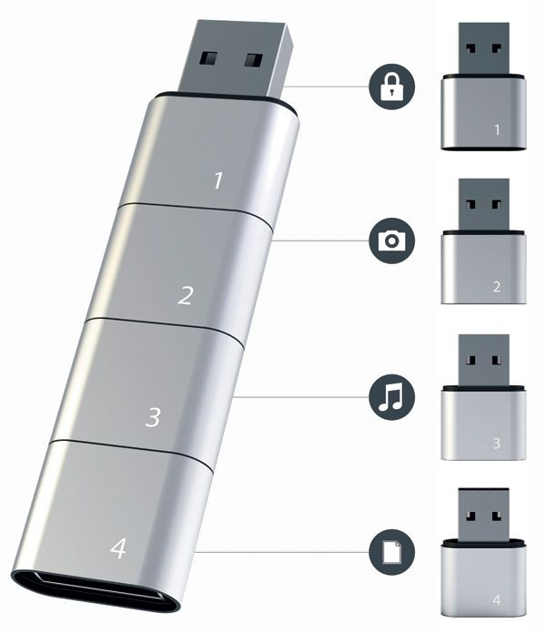When the modular concept is added to technology, wonderful things can happen. Just have a look at this innovative stackable USB flash drive for example.