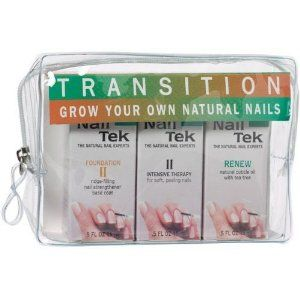NAIL TEK Transition Kit - from Artificial to Natural by Nail Tek. $19.99. For transition from artificial to natural nails.. NAIL TEK Transition Kit includes everything for growing strong, healthy and beautiful natural nails. Includes: Foundation II, Intensive Therapy II, Renew Cuticle Oil. Each 0.5 oz. NAIL TEK Foundation II Ridge-Filling Strengthener Base Coat is a formula for the soft and peeling nail; it fills the ridges and nail damages healing and fortifyi...