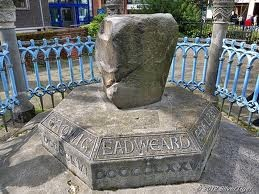 The Saxon Coronation Stone in Kingston Upon Thames the site of seven Anglo-saxon Monarchs Coronations from Edward the Elder 900Ad to Ethelred the Unready 979AD
