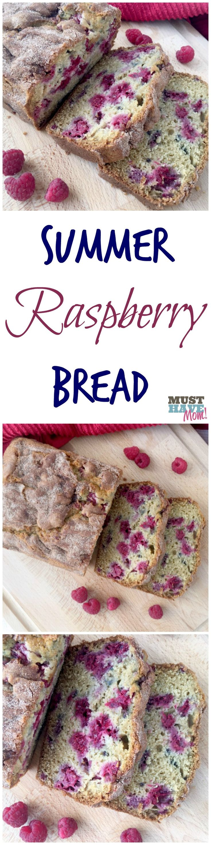 The best summer raspberry bread ever! Moist, mouth-watering berries nestled in a cinnamon sugar topped quick bread.