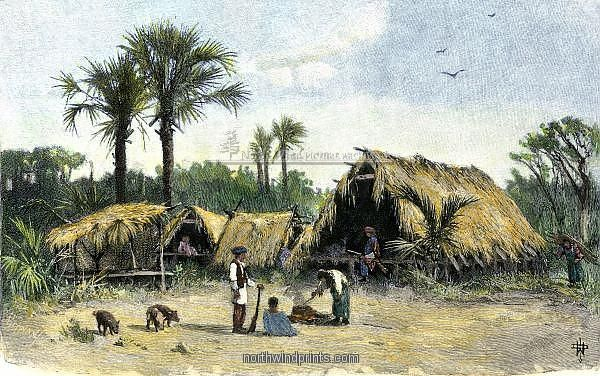 Seminole village of thatched shelters in the Everglades, 1800s. Hand-colored engraving of a 19th-century illustration