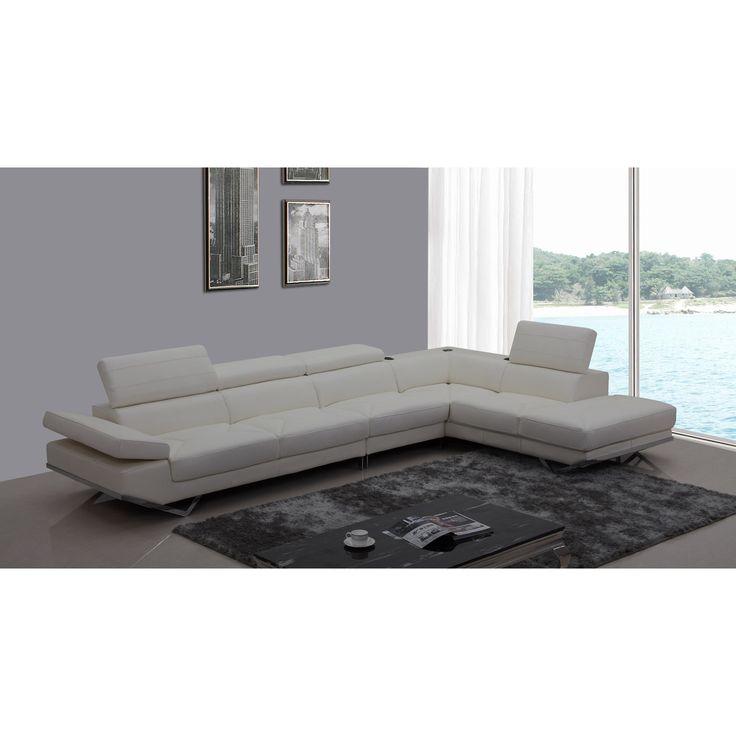 Divani Casa Kerria Modern White Eco-Leather Sectional Sofa w/ Audio System