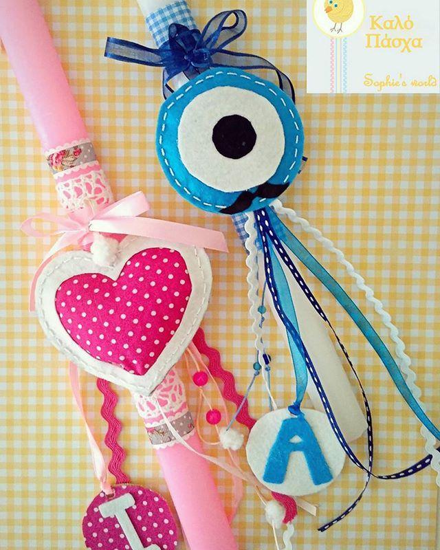 ροζ πλακέ με χειροποίητη καρδιά κ διακόσμηση με το αρχικό γράμμα του ονόματος λευκη -ή γαλάζια, πλακέ με χειροποίητο ματακι κ το αρχικό τα διακοσμητικά με την Αναστάση βγαίνουν κ κρεμιούνται με θύλακι #λαμπαδες #eastercandles #Πασχα