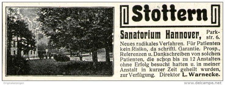 Original-Werbung/ Anzeige 1905 - STOTTERN - SANATORIUM HANNOVER - ca. 90 x 30 mm