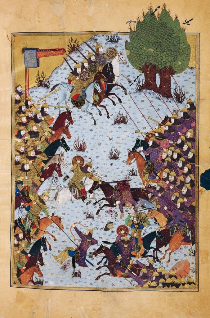 Folio depicting a battle between the armies of Iran and Turan, led by Kay Kavus and Afrasiyab respectively. This illustration is from a 15th century edition of the Shahnameh made for the Timurid Prince Baysunghur. Though the Timurds were of Turko-Mongol extraction, they commissioned many works of Iranian art.