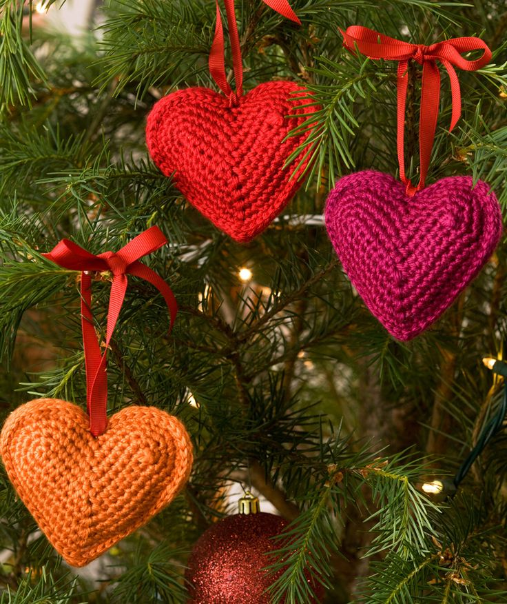 Tree Hearts, crochet pattern, redheart.com