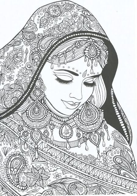Indian Bride free printable adult coloring pages: