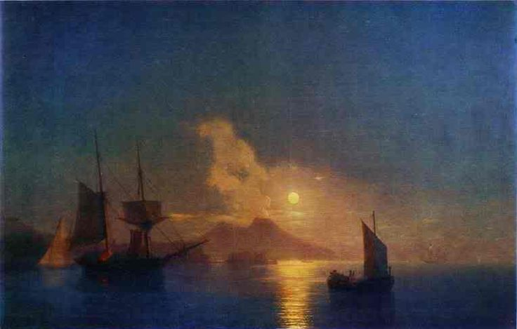 Golful Napoli de la Moonlight. 1842. Ulei pe panza. Galeria de Artă Aivazovsky, Feodosia, Ucraina - See more at: http://s141.photobucket.com/user/opilconst/media/TheBayofNaplesbyMoonlight1842Oilonc.jpg.html#sthash.qmz9anUY.dpufPhoto was uploaded by opilconst. Find other The Ba...