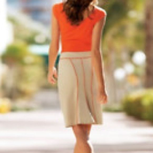 """Boston Proper Pleated Back Piped Pencil Skirt Final price. Great khaki pencil skirt with neon orange trim throughout and a nice flair back for a feminine touch. So easy to dress up with heels and a floral top or down with flats for casual. Freshly dry cleaned and ready to wear! Length 20"""" FREE NWT GIFT W/ EVERY PURCHASE, I APPRECIATE YOUR BUSINESS❤️ Boston Proper Skirts Mini"""