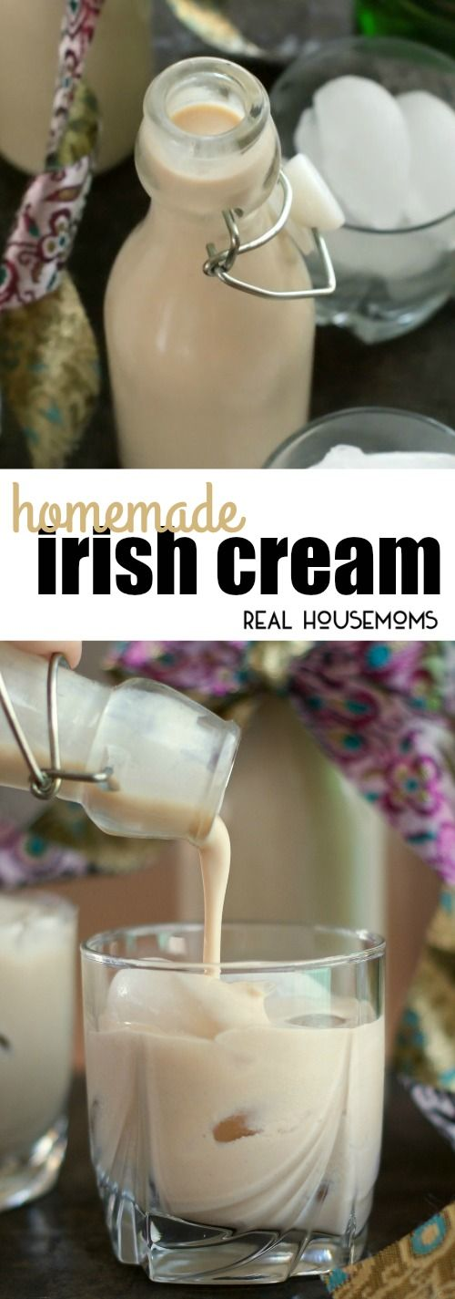 Homemade Irish Cream is super easy to make & tastes so much better than store-bought! via @realhousemoms