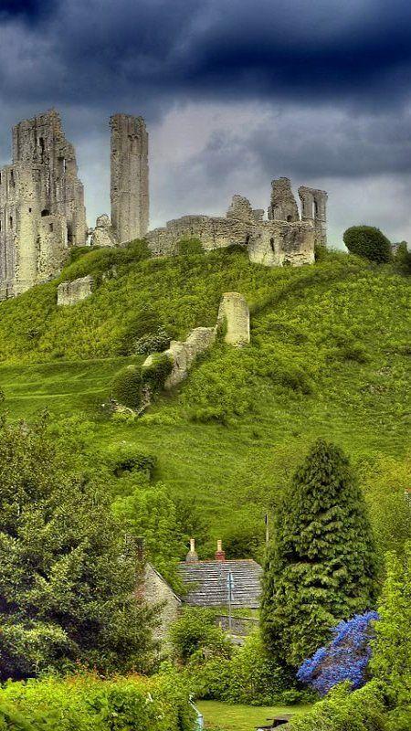 The Corfe Castle ruins in Dorset, England.