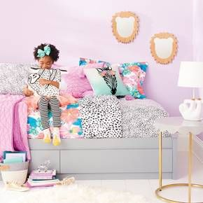 Our latest Pillowfort collections have lots of fun finds to up the imagination for kid spaces that are all their own, from fun pillows to a canopy and more. Spotted sheets, tropical flower prints, lion mirrors and-not to miss-a sloth pillow. This kids' bedroom collection is a total jungle, and it couldn't get much cuter than this.
