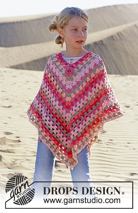 DROPS Girl's Crocheted Poncho in Paris with blossom in Safran Free pattern by DROPS Design.