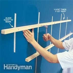 From article on how to build floating shelves: Photo 4: Screw the cleats to the wall
