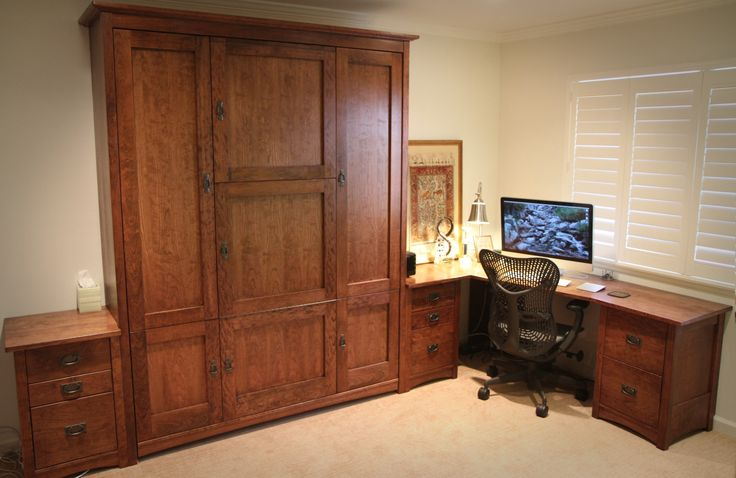 Warm Wood Home Office With 7 Door Craftsman Murphy Wall