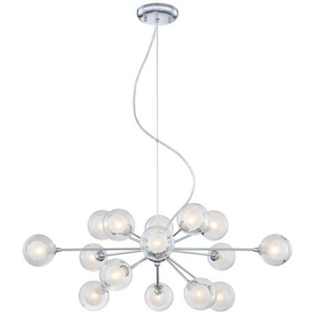"Possini Euro Design Glass Orbs 15-Light Pendant Chandelier $360 15x25 watts  30"" wide. 13"" high."