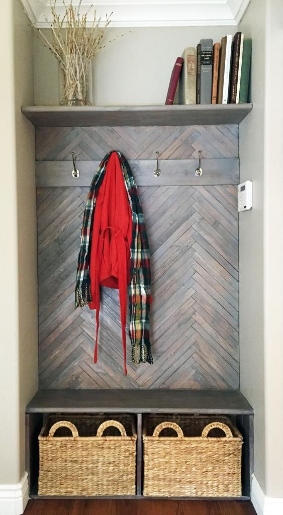 DIY Herringbone Wall and Bench in mudroom
