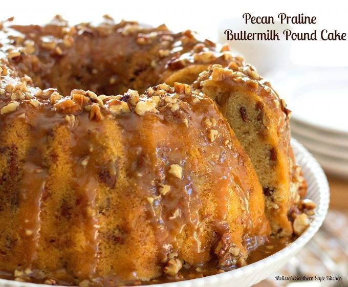 PECAN PRALINE BUTTERMILK POUND CAKE!! This buttery pecan praline buttermilk pound cake is filled with toasted pecans and toffee bits. It's then drizzled with a sweet pecan praline glaze. It will …