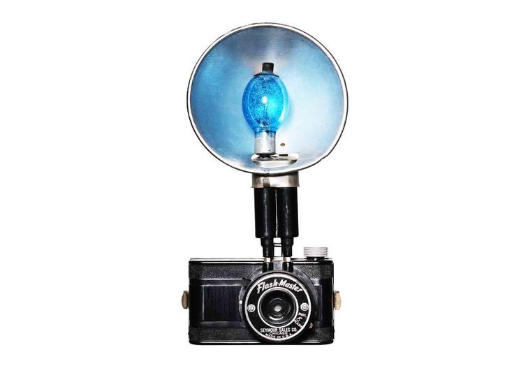 Still Life Photography | Bruce Peterson Photography - Flash Master Bakelite 127 film camera, Chicago, USA. Blue bulb flash.